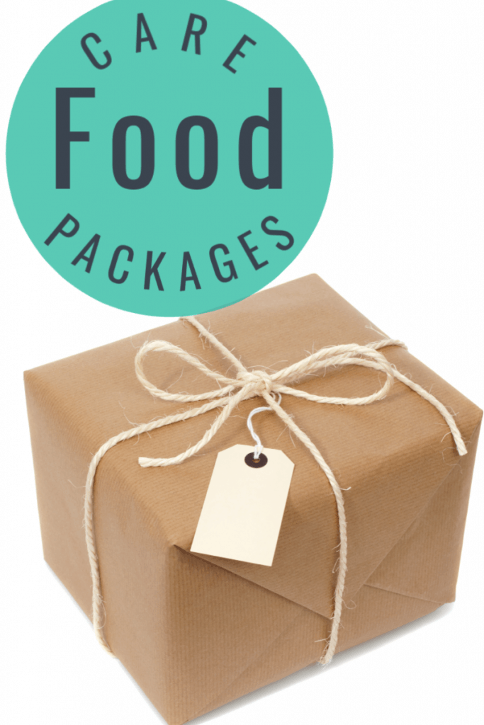 brown paper wrapped box with twine and cream tag with title text reading Food Care Packages