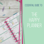 happy planner with pink discs and green overlay on right side