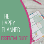 happy planner calendar with paper clips and pens and pink and green curved overlays
