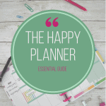 happy planner calendar with paper clips and pens and green circle overlays