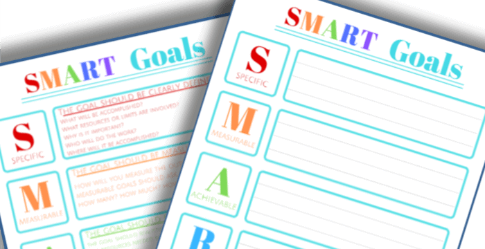 close up of two colorful SMART Goals worksheets