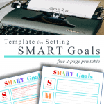 "top image black typewriter with ""goals"" on page, bottom image of 2 colorful SMART goals printables"