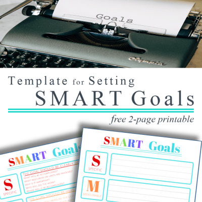"""top image black typewriter with """"goals"""" on page, bottom image of 2 colorful SMART goals printables"""