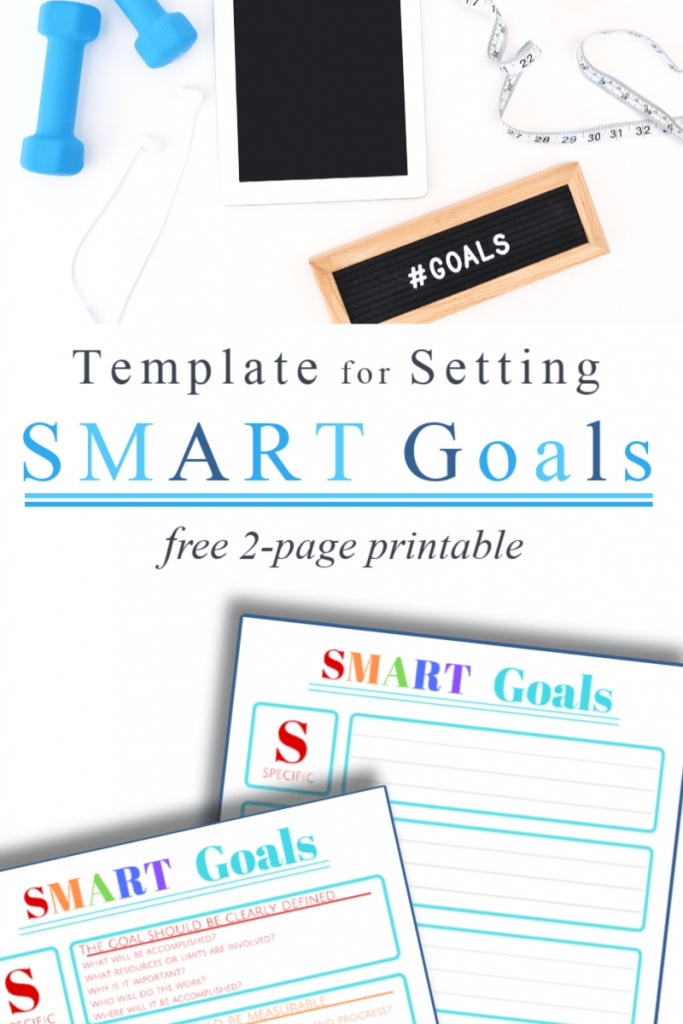 "Top image boss babe items with ""goals"" sign and bottom image of 2 SMART goals worksheets"