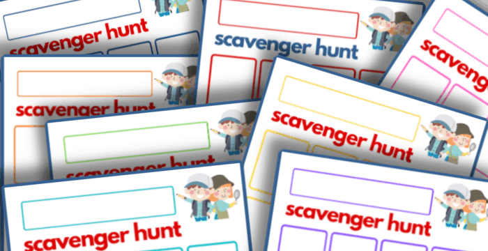 close up of colorful scavenger hunt templates