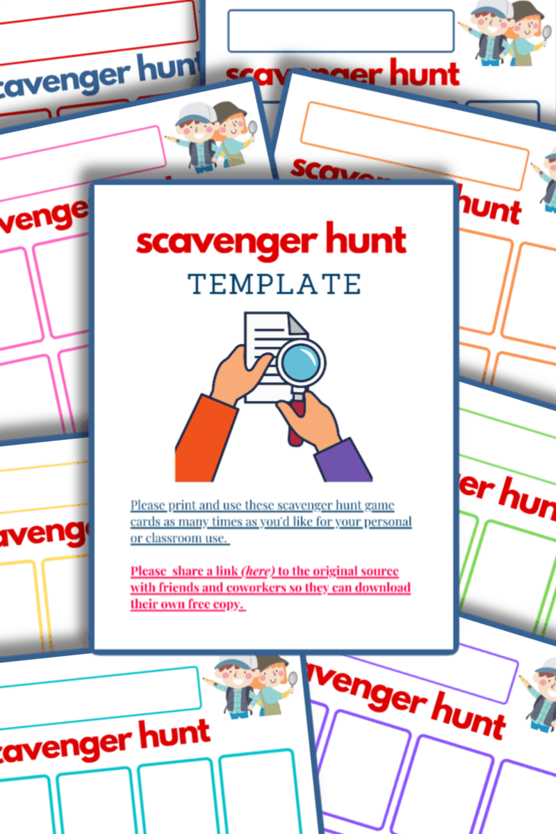 colorful scavenger hunt templates in 8 colors with cover
