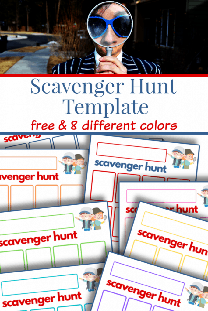 top image person looking through a magnifying glass two young children at lake, bottom image of colorful sheets of scavenger hunt templates