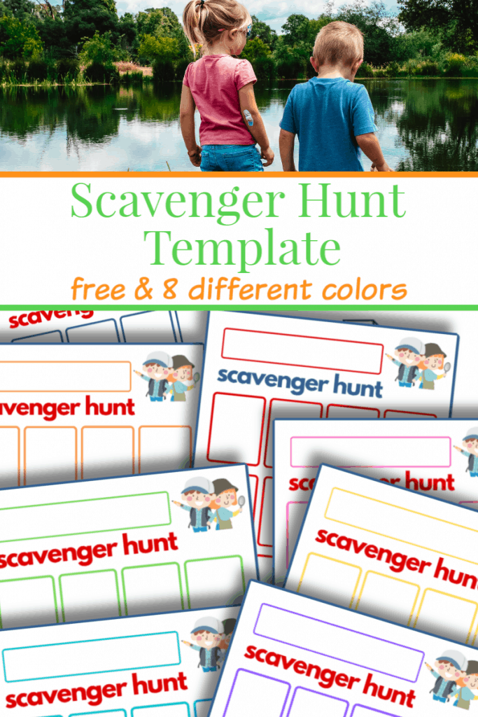 top image two young children at lake, bottom image of colorful sheets of scavenger hunt templates