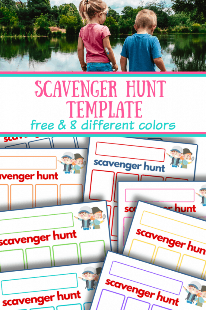 top image boy and girl by lake, bottom image scavenger hunt templates in 8 colors