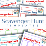 close up of 8 scavenger hunt template pages with text overlay