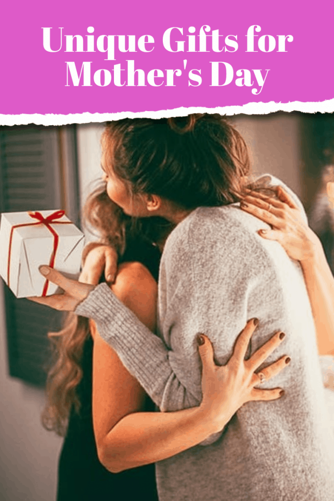 Mother holding gift and hugging daughter with purple text overlay
