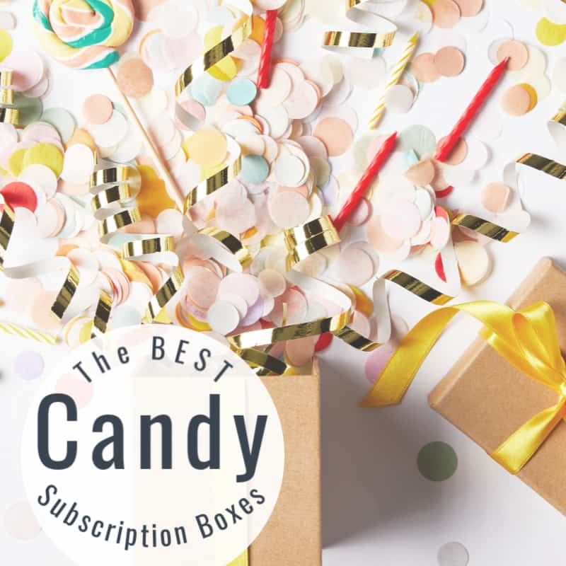 brown gift box with yellow ribbon with lid open and confetti exploding out with title text overlay reading The Best Candy Subscription Boxes