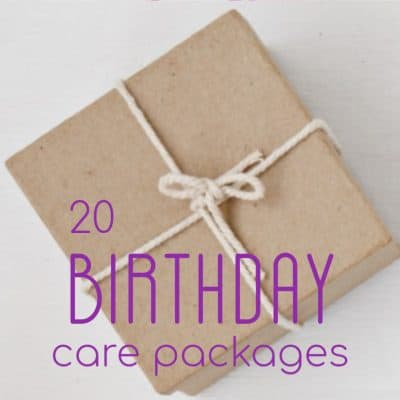 brown package with twine and purple title overlay