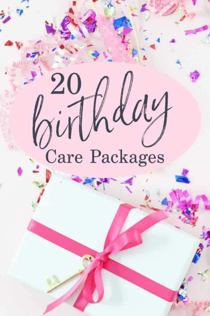 white gift box with pink ribbon and confetti on table with title reading 20 Birthday Care Package