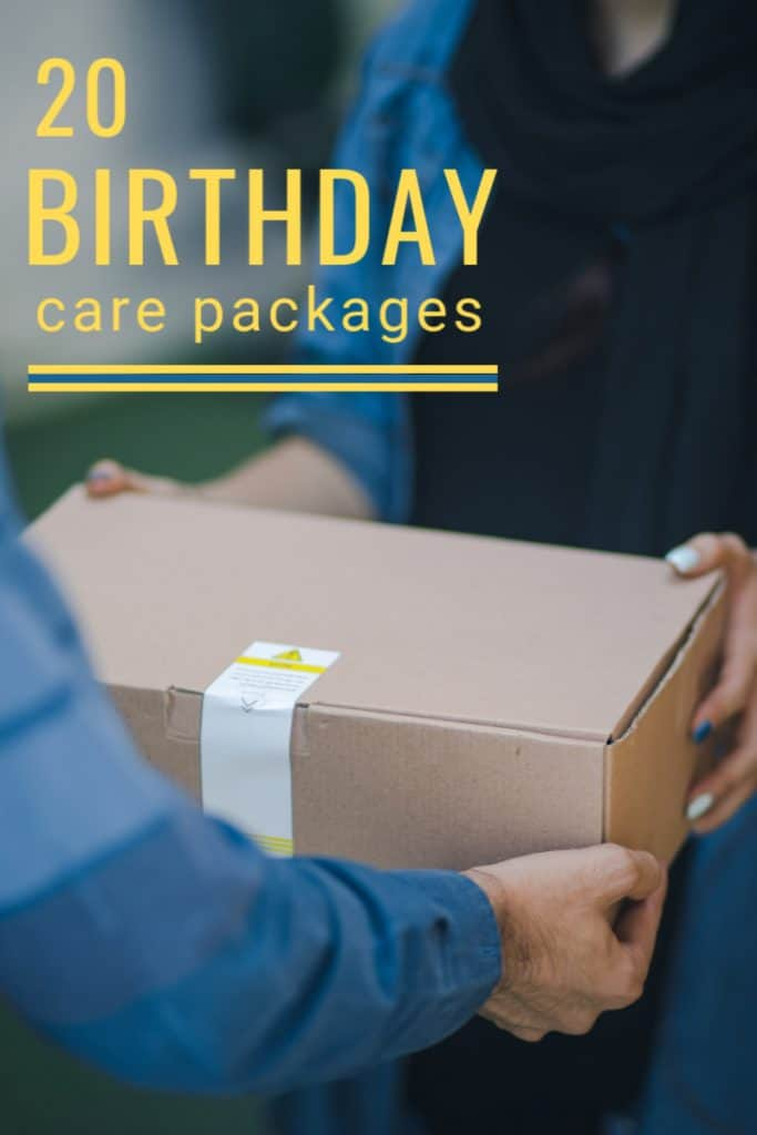 person handing brown box to another set of hands with yellow text reading 20 Birthday Care Packages