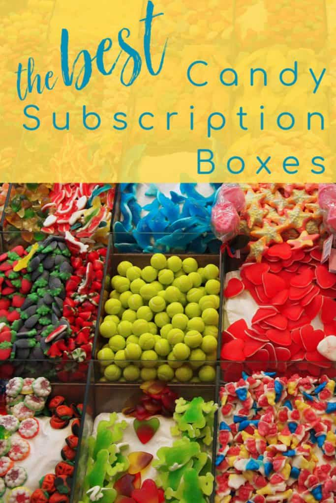 candy store display with brightly colored different candies with title text overlay reading the Best Candy Subscription Boxes