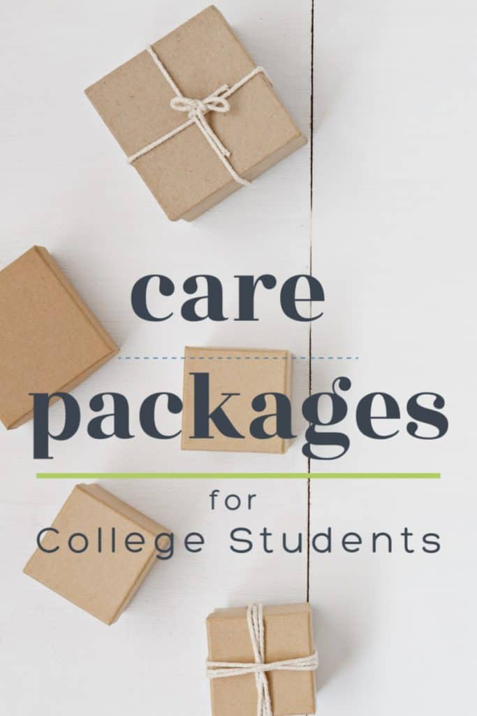 4 brown boxes, 2 with twine ribbons on white table with text overlay reading Care Packages for College Students