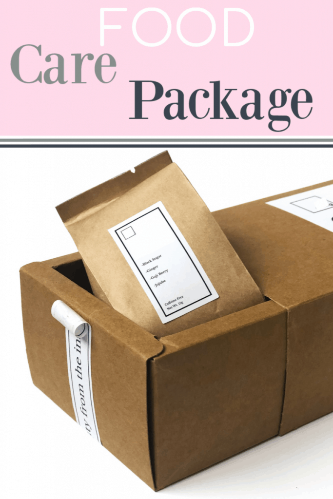 open brown package with food bag inside and text overlay reading Food Care Package