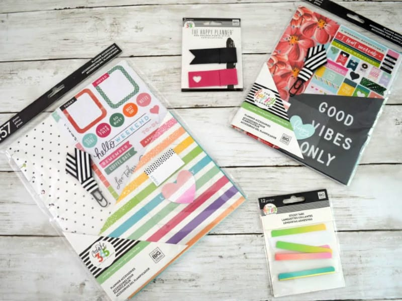 4 examples of colorful Happy Planner accessories