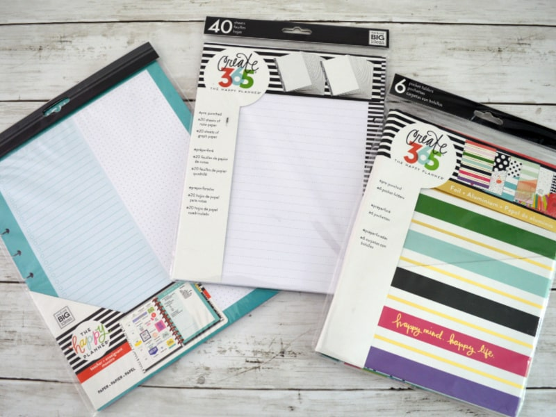 3 examples of Happy Planner paper and folders