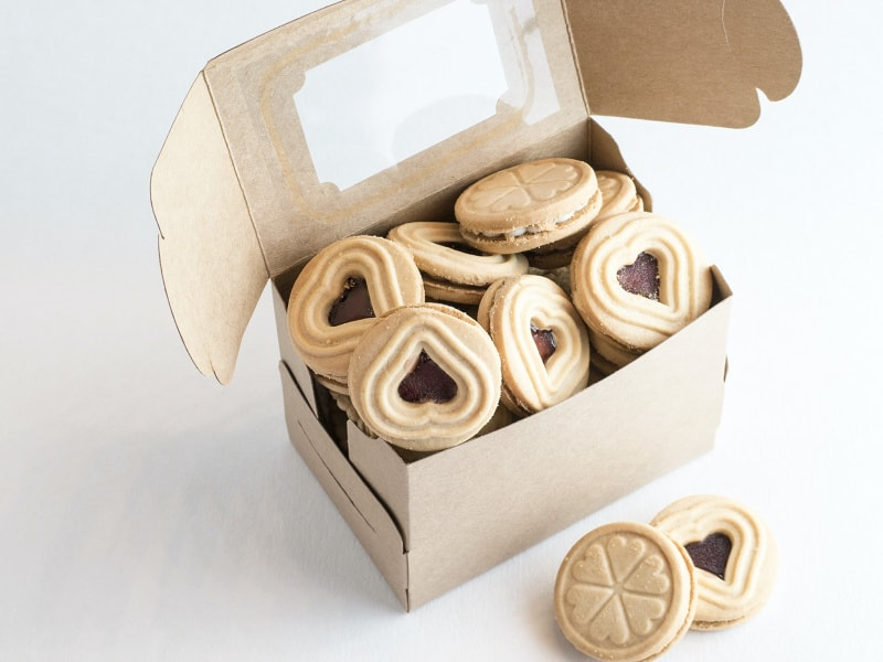 brown craft box filled with cookies