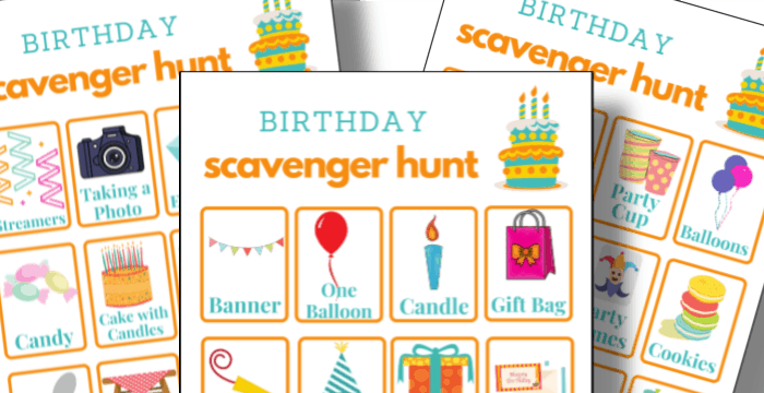 close up of 3 colorful birthday scavenger hunt printable sheets