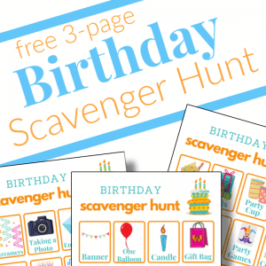 close up of 3 birthday scavenger hunt printable sheets with blue and orange title overlay