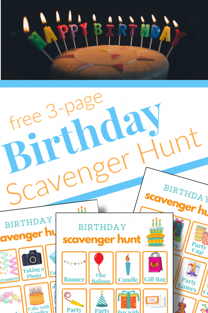 """top - lit candles spelling """"happy birthday"""", bottom - 3 images of birthday scavenger hunt game boards"""