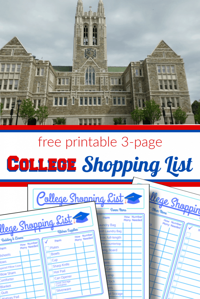 top - image of brick college building, bottom - 3 images of pages of college shopping list with title text in between reading free printable 3-page College Shopping List