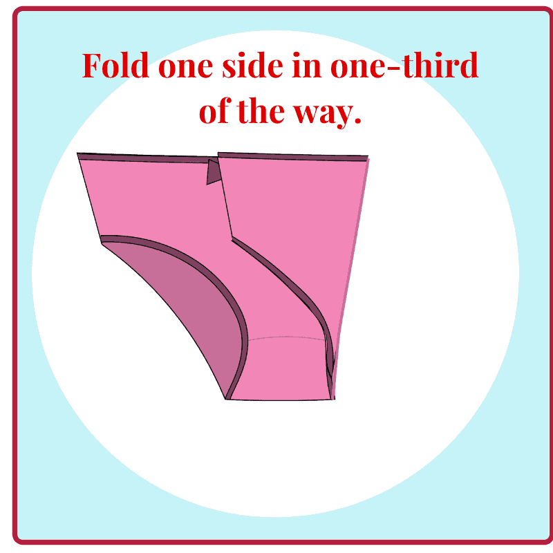 graphic of folded underwear with title text reading Fold one side in one-third of the way