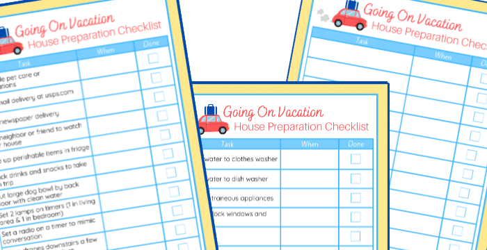 closeup of 3 yellow and blue house prep checklists for vacations