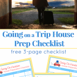 top image - silhouette of man with suitcase, bottom image - 3 house preparation checklists