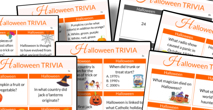 close up of 7 Halloween trivia question sheets