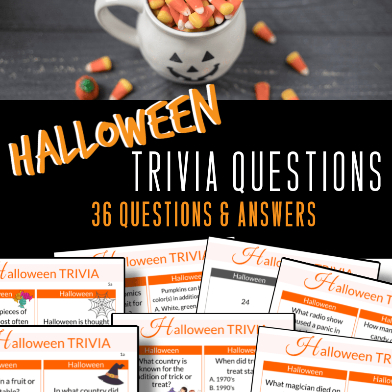 top image - close up of white jack o'lantern cup with Halloween candy bottom image - 7 pages of Halloween trivia questions