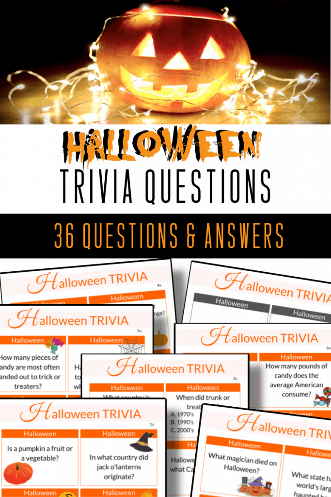 top image jack o'lantern with string lights, bottom image 6 pages of trivia questions and 1 answer page with title text reading Halloween Trivia Questions