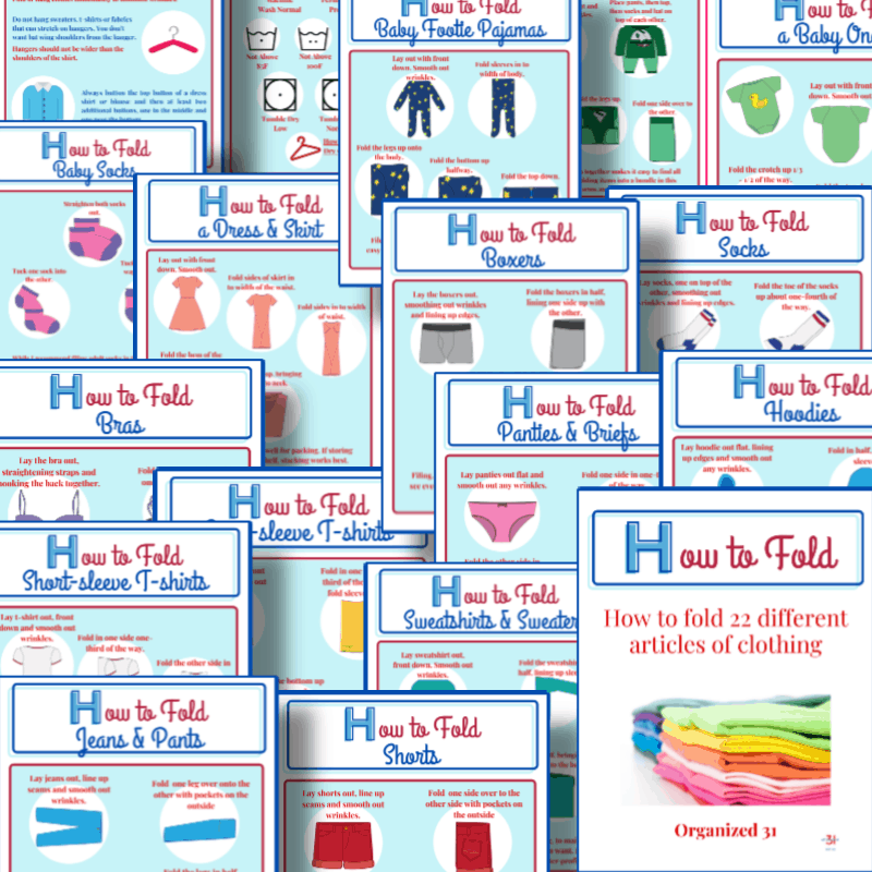 collage of colorful sheets about how to fold clothing items