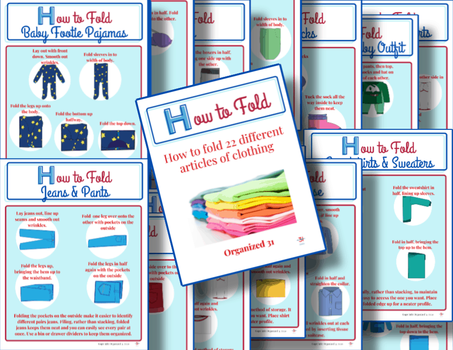 collage of pages of how to fold clothing