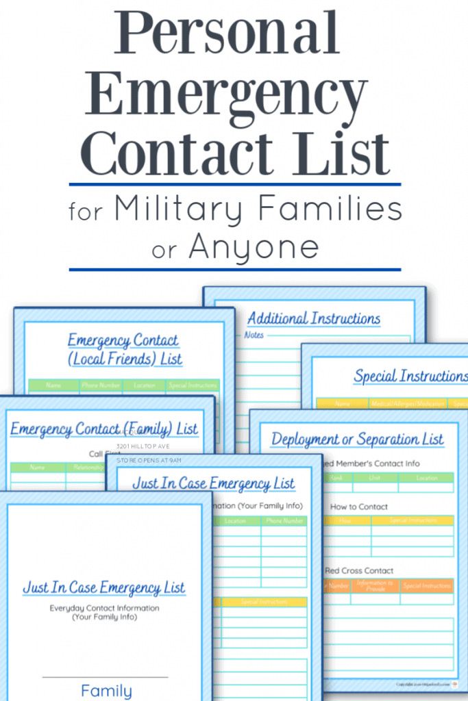 7 images of emergency contact checklists in blue and multiple colors with black text overlay reading Personal Emergency Contact List