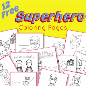 12 superhero coloring pages and yellow banner on top with text