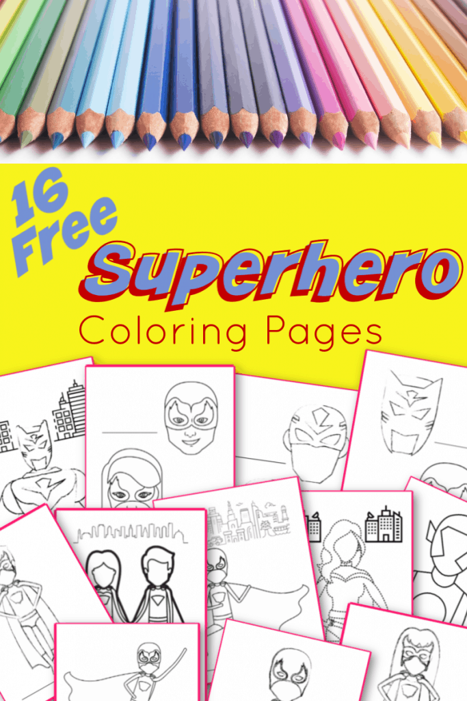 top image is row of colored pencils, bottom image is superhero coloring pages