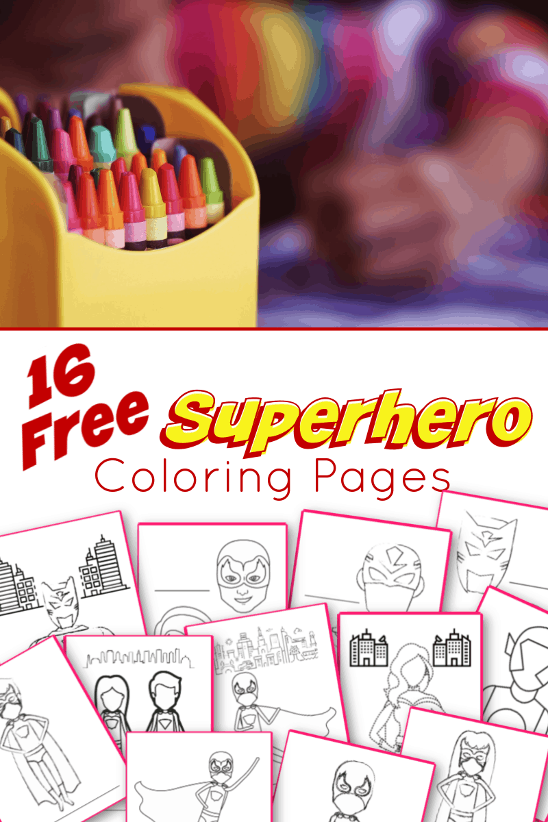 top image child's arm with box of crayons, bottom is 12 images of superhero coloring pages