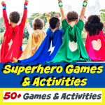 group of children in colorful superhero capes, two with their arms up above their heads