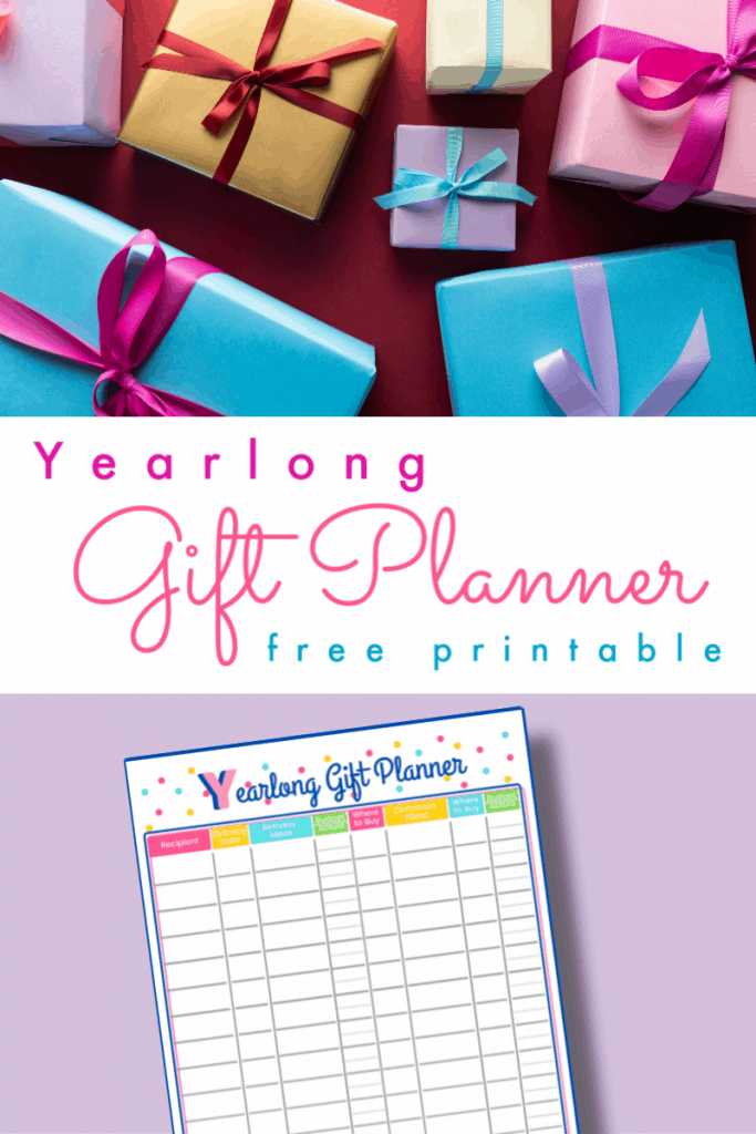 top image - 7 wrapped boxes with bows, bottom image - colorful gift planner printable with title text in between reading Yearlong Gift Planner free printable