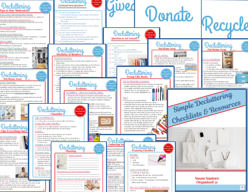 collage of 17 red and blue decluttering checklists