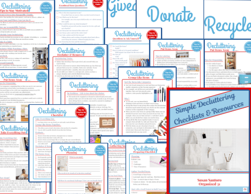 collage of decluttering checklist pages in blue and red