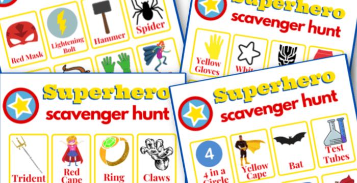 close up of 4 colorful superhero scavenger hunt game boards