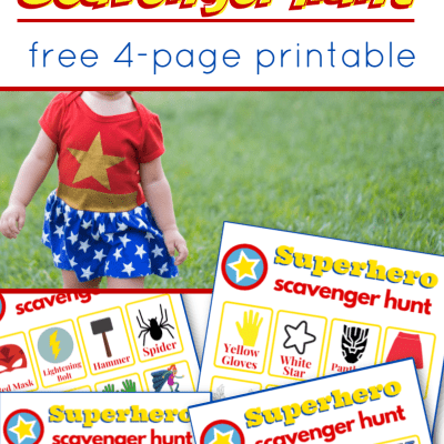 child in superhero costume and images of superhero scavenger hunt sheets