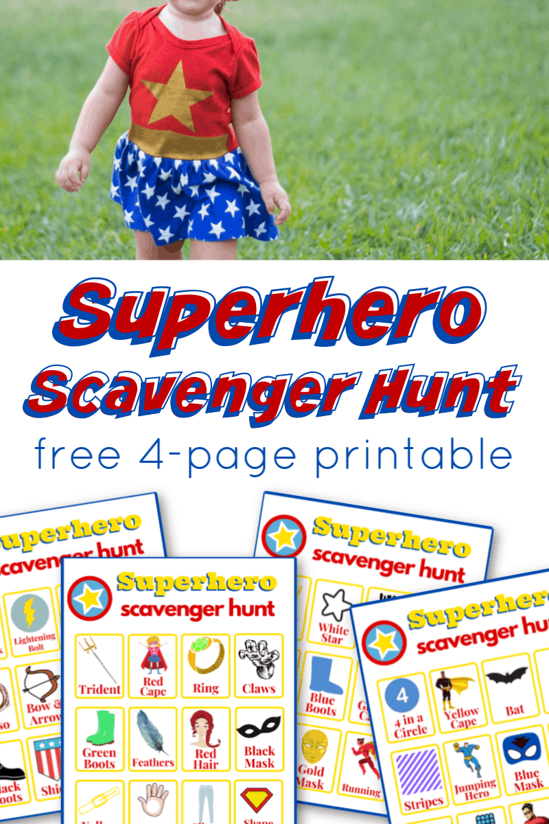 young girl in superhero costume with images of superhero scavenger hunt game boards