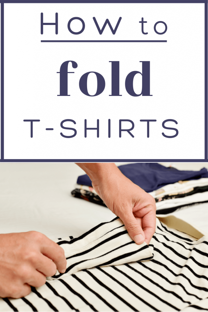 hands folding striped t-shirt with pile of folded shirts in background with title text reading How to fold T-Shirts