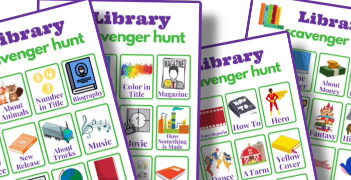 close up of 4 colorful library scavenger hunt game boards